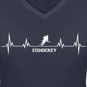 Heartbeat ice hockey T-Shirts - Women's V-Neck T-Shirt