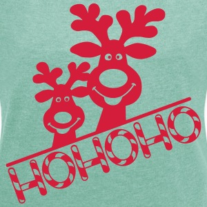Elche Hohoho Christmas ugly Christmas Reindeer T-Shirts - Women's T-shirt with rolled up sleeves