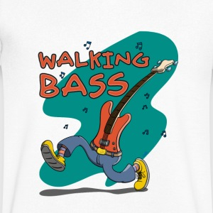 Walking Bass - Jazz Bassgitarre T-shirts - Herre T-shirt med V-udskæring