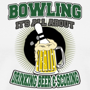 Bowling Drinking Beer And Scoring - Men's Premium T-Shirt