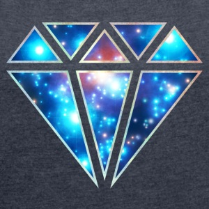 Diamant symbol, trekant, galaxy style, space, love T-shirts - Dame T-shirt med rulleærmer