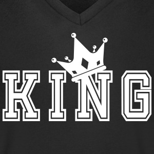 Valentine's Matching Couples King Crown Jersey - T-shirt med v-ringning herr