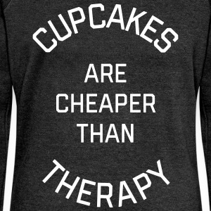Cupcakes Cheaper Therapy Funny Quote Sweaters - Vrouwen trui met U-hals van Bella