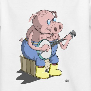The Hillbilly banjo playing pig Shirts - Kids' T-Shirt