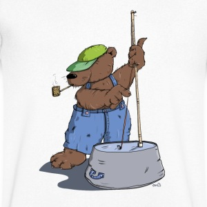 The Hillbilly bear plays bass guitar T-Shirts - Men's V-Neck T-Shirt