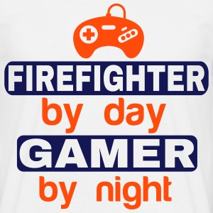 FIREFIGHTER BY DAY GAMER BY NIGHT T-Shirts - Men's T-Shirt