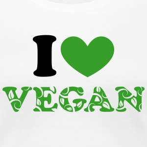 I heart vegan, hjerte, grøn, planter power, i love T-shirts - Dame premium T-shirt