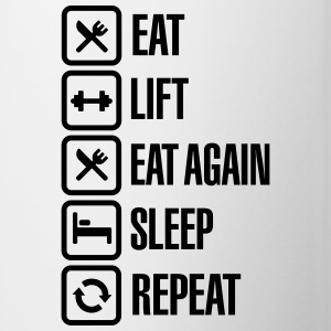 Eat - Lift - Eat again - Sleep - Repeat Mokken & toebehoor - Mok tweekleurig