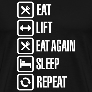 Eat - Lift - Eat again - Sleep - Repeat T-shirts - Mannen Premium T-shirt