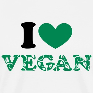 I heart vegan green, animal protection, save earth T-Shirts - Men's Premium T-Shirt