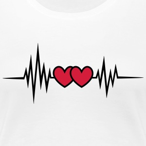 Puls, frequency, heartbeat, hearts Valentine's Day T-Shirts - Women's Premium T-Shirt