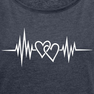 Heartbeat, heart rate, pulse, double heart T-Shirts - Women's T-shirt with rolled up sleeves