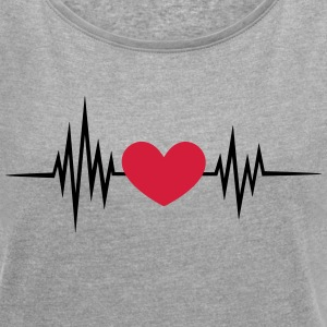 Pulse, heart rate, heartbeat, frequency, I love  T-Shirts - Women's T-shirt with rolled up sleeves