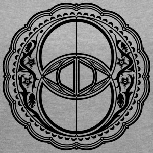 Vesica Piscis, Chalice Well, Sacred Geometry T-Shirts - Women's T-shirt with rolled up sleeves