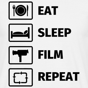 EAT SLEEP FILM REPEAT T-skjorter - T-skjorte for menn