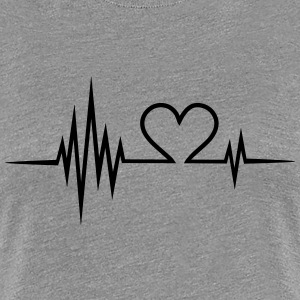 Pulse, frequency, heartbeat, Valentines Day, heart T-Shirts - Women's Premium T-Shirt