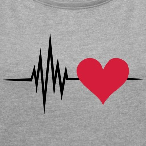 Pulse, frequency, heartbeat, I Love you heart rate T-Shirts - Women's T-shirt with rolled up sleeves