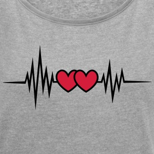 Pulse, frequency heartbeat, hearts Valentine's Day T-Shirts - Women's T-shirt with rolled up sleeves