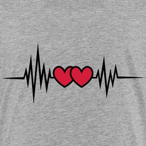 Pulse, frequency heartbeat, hearts Valentine's Day Shirts - Teenage Premium T-Shirt