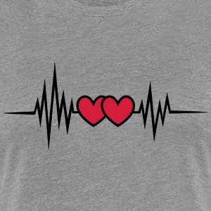 Puls, Frequenz, Valentinstag, 2 Herzen, I love you T-Shirts - Frauen Premium T-Shirt