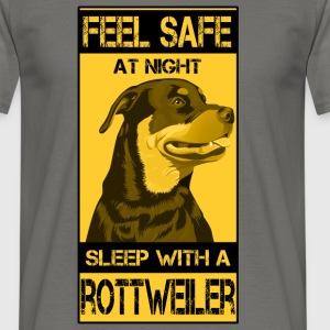 Feel safe at night sleep with rottweiler - Men's T-Shirt