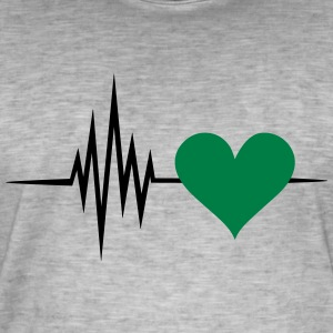 Pulse, frequency, heartbeat, vegan heart rate T-Shirts - Men's Vintage T-Shirt