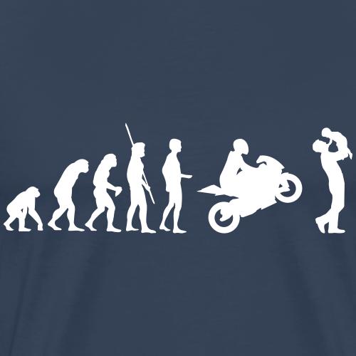 Evolution Motorrad mit Vater und Kind