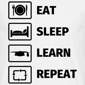 EAT SLEEP LEARN REPEAT T-shirts - Mannen T-shirt