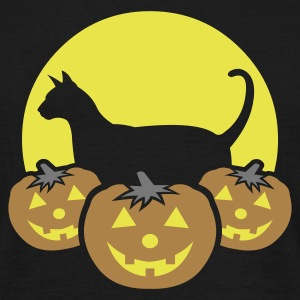 halloween_pumpkins_moon_cat_v1 T-shirts - T-shirt herr
