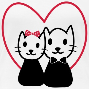 Cats in love  - Dame premium T-shirt