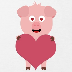Pig with big hearts for Valentine's day Shirts - Kids' Organic T-shirt