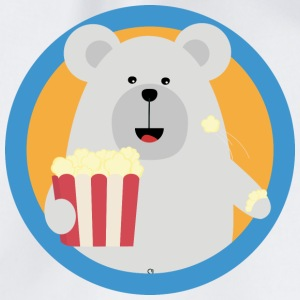 Polar bear eat popcorn with circle Bags & Backpacks - Drawstring Bag