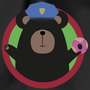 Policeman Grizzly with a pink donut Bags & Backpacks - Drawstring Bag