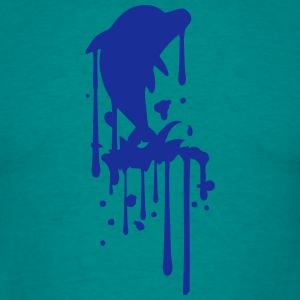 Spray graffiti silhouette drop jump water ocean lo T-Shirts - Men's T-Shirt