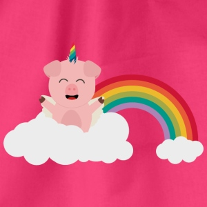 Unicorn-pig on cloud Bags & Backpacks - Drawstring Bag