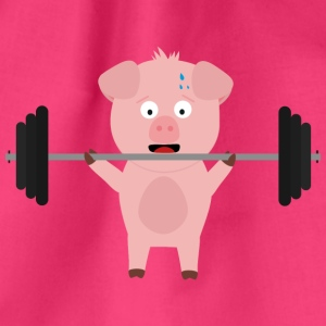 Fitness pig with weights Bags & Backpacks - Drawstring Bag