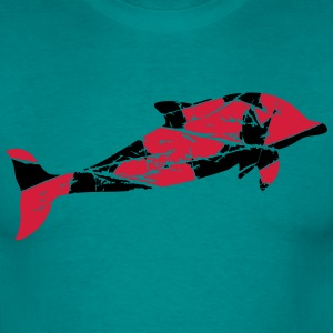 Crack scratch stamp old silhouette outline dolphin T-Shirts - Men's T-Shirt