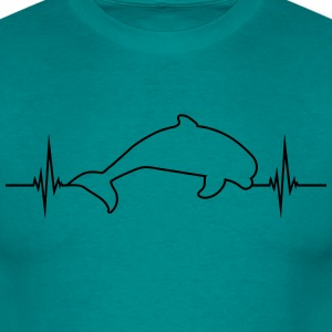 Pulse frequency heartbeat beat outline dolphin jum T-Shirts - Men's T-Shirt
