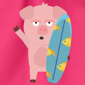 Surfin' pig with surfboard Bags & Backpacks - Drawstring Bag
