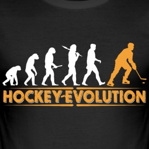 Hockey Evolution - orange/weiss T-Shirts - Men's Slim Fit T-Shirt