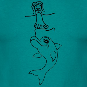 Girl child balancing stunt trick jumping delfin co T-Shirts - Men's T-Shirt