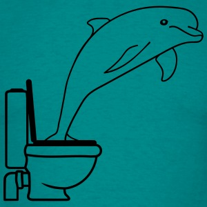 Toilet toilet bath funny comic cartoon dolphin jum T-Shirts - Men's T-Shirt