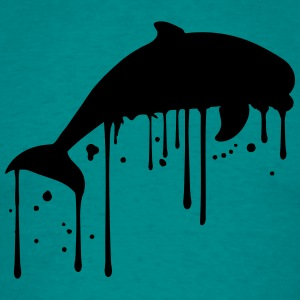 Graffiti drop color spray silhuette outline dolphi T-Shirts - Men's T-Shirt