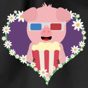 Cinema-pig with heart flower Bags & Backpacks - Drawstring Bag