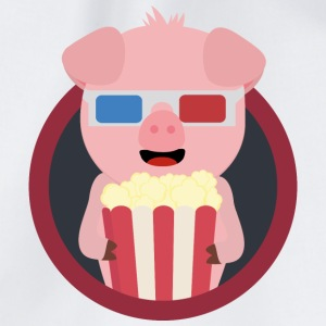 Cinema-pig with popcorn Bags & Backpacks - Drawstring Bag