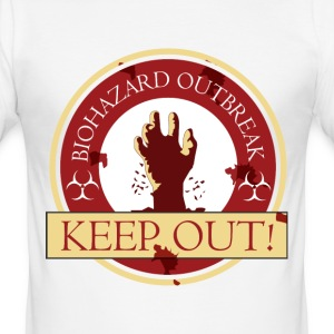 Zombie Outbreak Badge Logo Design Keep Out - Men's Slim Fit T-Shirt