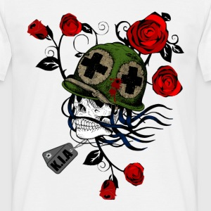 Military Skull with Roses - Men's T-Shirt