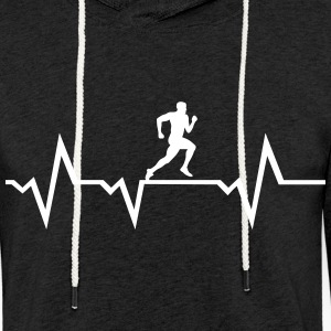 Running Man & Heartbeat -courir Sweat-shirts - Sweat-shirt à capuche léger unisexe
