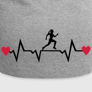 Running Woman & Heartbeat & Hearts Caps & Hats - Jersey Beanie