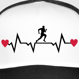 Running Man & Heartbeat & Hearts Caps & Hats - Trucker Cap